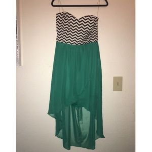 Strapless B&W Chevron and Teal Dress